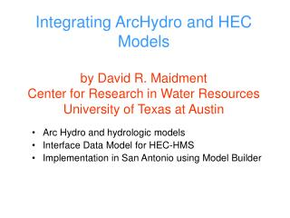 Arc Hydro and hydrologic models Interface Data Model for HEC-HMS