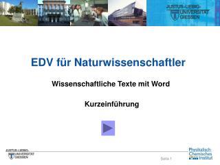 EDV für Naturwissenschaftler