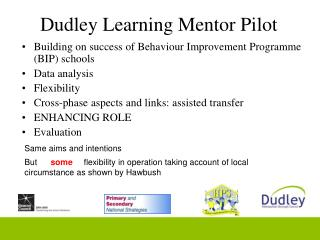 Dudley Learning Mentor Pilot