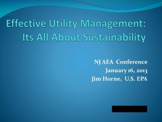 Effective Utility Management: Its All About Sustainability
