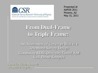 From Dual-Frame  to Triple Frame:
