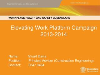 Elevating Work Platform Campaign 2013-2014