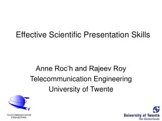 Effective Scientific Presentation Skills