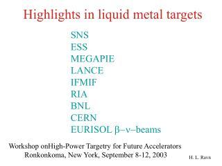 Highlights in liquid metal targets