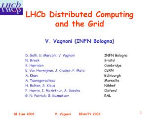 LHCb Distributed Computing and the Grid V. Vagnoni (INFN Bologna)