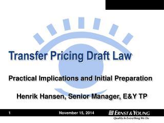 Transfer Pricing Draft Law