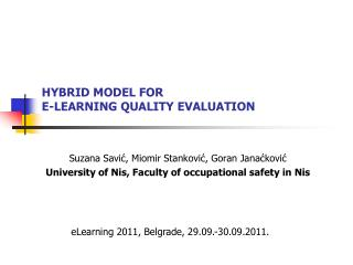 HYBRID MODEL FOR  E-LEARNING  QUALITY EVALUATION