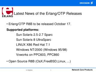 Latest News of the Erlang/OTP Releases
