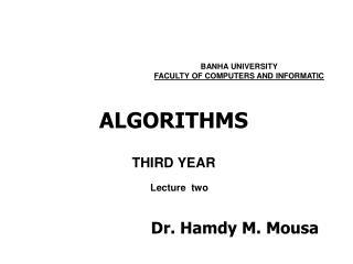 ALGORITHMS THIRD YEAR