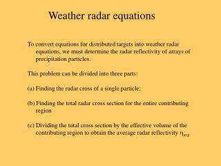 Weather radar equations