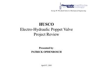 HUSCO Electro-Hydraulic Poppet Valve  Project Review