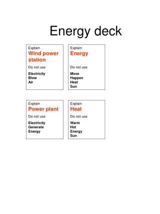 Energy deck