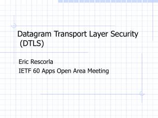 Datagram Transport Layer Security  (DTLS)