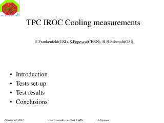 TPC IROC Cooling measurements  U.Frankenfeld(GSI),  S.Popescu (CERN), H.R.Schmidt(GSI)