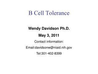 B Cell Tolerance