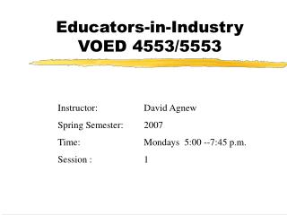 Educators-in-Industry VOED 4553/5553