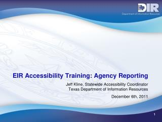 EIR Accessibility Training: Agency Reporting