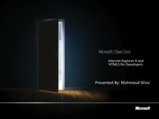 Presented By: Mahmoud Ghoz