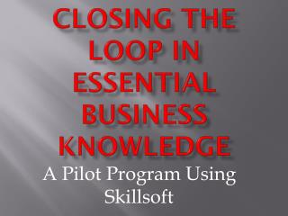 Closing the Loop in Essential Business Knowledge