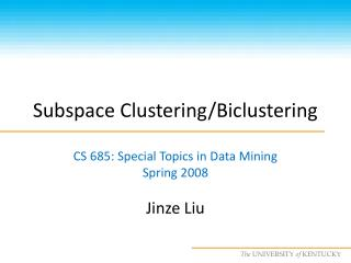 Subspace Clustering/Biclustering