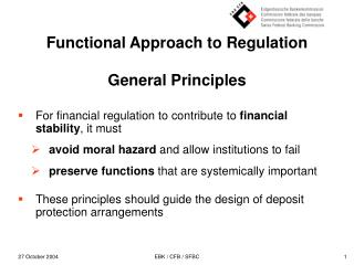 Functional Approach to Regulation  General Principles