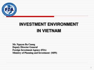 INVESTMENT ENVIRONMENT  IN VIETNAM