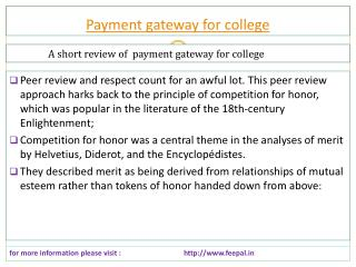 One Of The Best Online hub of payment gateway for college