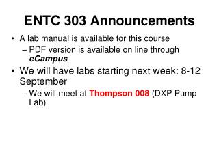 ENTC 303 Announcements