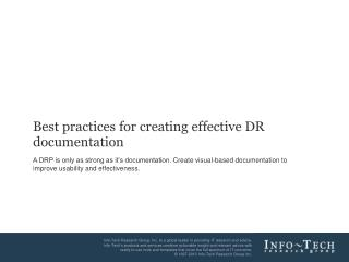 Best practices for creating effective DR documentation