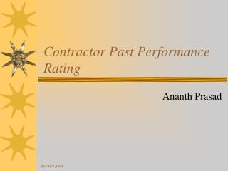 Contractor Past Performance Rating