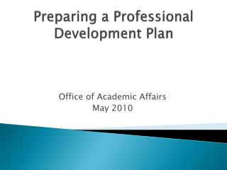 Preparing a Professional Development Plan