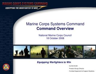 Role of Marine Corps Systems Command