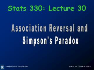 Stats 330: Lecture 30
