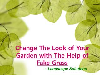 Change The Look of Your Garden with The Help of Fake Grass