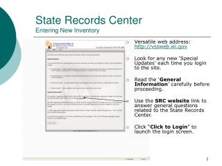 State Records Center Entering New Inventory