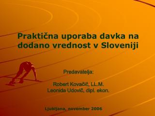Praktična uporaba davka na dodano vrednost v Sloveniji