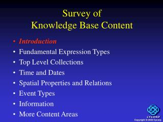 Survey of  Knowledge Base Content