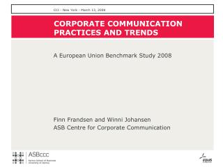 CORPORATE  COMMUNICATION  PRACTICES AND TRENDS