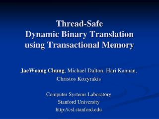Thread-Safe  Dynamic Binary Translation  using Transactional Memory