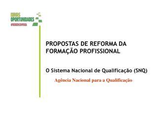 PROPOSTAS DE REFORMA DA FORMAÇÃO PROFISSIONAL O Sistema Nacional de Qualificação (SNQ)