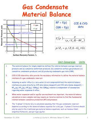 Gas Condensate  Material Balance