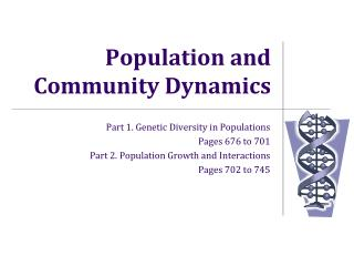Population and Community Dynamics