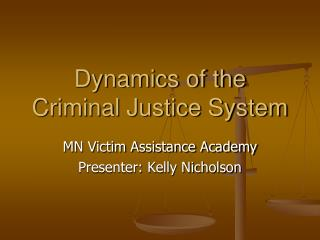 Dynamics of the Criminal Justice System