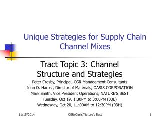 Unique Strategies for Supply Chain Channel Mixes