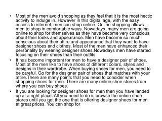 Most of the men avoid shopping