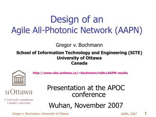 Design of an  Agile All-Photonic Network (AAPN)