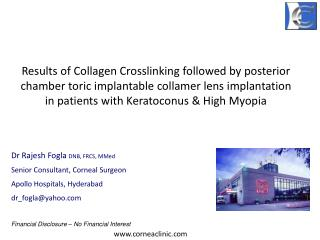 Results of Collagen Crosslinking followed by posterior chamber toric implantable collamer lens implantation         in p