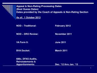 Appeal & Non-Rating Processing Dates (Best Guess Dates)