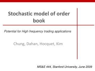 Stochastic  model of  order  book