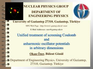 NUCLEAR PHYSICS GROUP DEPARTMENT OF ENGINEERING PHYSICS